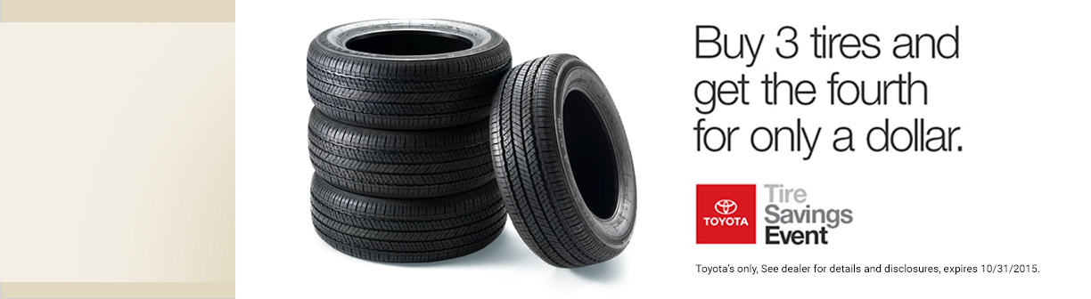 Toyota tire special buy 3 get 1 free.